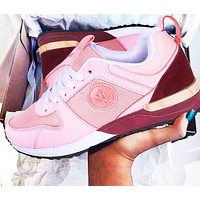 Bunchsun LV Louis Vuitton Hot Sale Women Men Fashionable Sport Shoes Couple Sneakers Pink/Burgundy