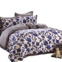 GL'S Hometextile,king/queen/full/twin size 100% cotton bedding set,duvet cover set without comforter,blue flower,free shipping
