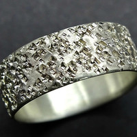 silver wedding band unique mens wedding ring silver, structured ring volcanic rock pattern ring, silver mens ring, mens engagement band