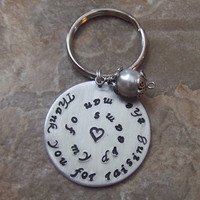 Personalized Handstamped Key Ring - Thank You For Raising the Man of My Dreams - Mother in Law Gift Wedding Mothers Day