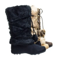 Tara Black Sued by Blossom,  Mukluk Wrap Around Mid Calf Faux Fur Boots , Women Winter Snow Boot