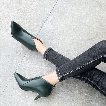 Pointed Toe Women's Stiletto Heels Ankle Boots