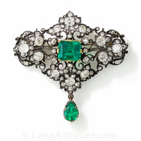 Victorian Emerald and Diamond Brooch - 50-1-2082 - Lang Antiques