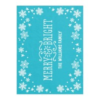 Merry and Bright | Custom Color Holiday Fleece Blanket