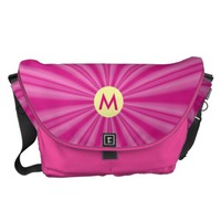 Radiating Hot Pink Streaks with Initial Courier Bag