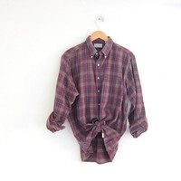 Vintage Plaid Shirt. Boyfriend Shirt. LL Bean Button Up Shirt. Preppy Grunge Shirt.