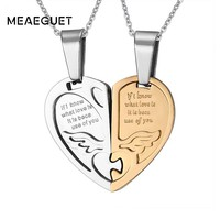 Meaeguet Romantic Heart Puzzle Couple Necklace Pendant For Women Men Freedom Love Stainless Steel Necklace Wedding Jewelry
