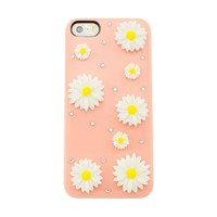 iPremium Case® Flower Series - Simple & Pretty 3D Daisies Flower iPhone 5 / 5S Case - Handmade DIY - AT&T, Verizon, Sprint (Package includes Extra Crystals & Screen Protector) (Peach)