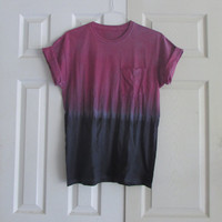 Casual Customizable Dip Dyed Unisex Fuchsia and Black Tee Shirt for Everyday Wear