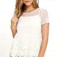 Whimsical Garden Cream Lace Top