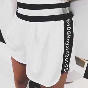 """Dolce & Gabbana"" Women Fashion Multicolor Letter Webbing Shorts Leisure Pants Sweatpants"