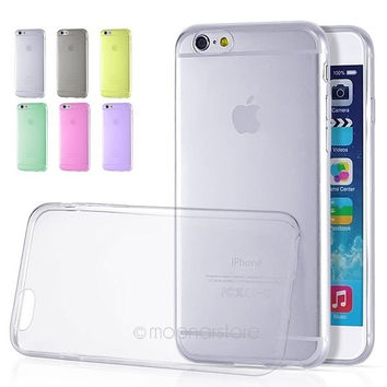 0.3mm Ultra Thin Clear TPU Soft Back  Case Cover Candy Color For iPhone 6 Plus = 1958072708