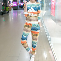 """Adidas"" Fashion Casual Multicolor Feather Letter Print Long Sleeve Sweater Set Two-Piece Sportswear"