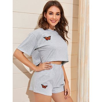 Butterfly Print Crop Tee & Track Shorts
