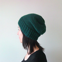 Hand Knitted Chunky Hat in Dark Green - Slouch Seamless Hat - Winter Hat - Wool Blend