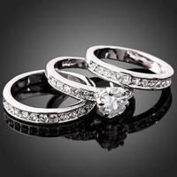 3-in-1 Cubic Zirconia 18KGF Sterling Silver Engagement Wedding Band Ring