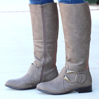 """Emerson """"U"""" Ankle Wrap Riding Boots {Taupe}"""