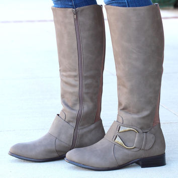 """Emerson """"U"""" Ankle Wrap Riding Boots {Taupe} - Size 10"""