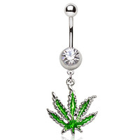 316L Surgical Steel Pot Leaf Dangle Navel Ring