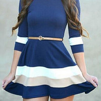 Blue Half Sleeve Mini A-Line Dress