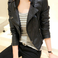 Black Faux Leather Zipper Jacket