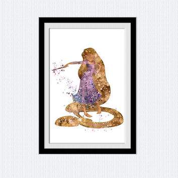 Rapunzel watercolor art print Disney princess decor Rapunzel poster Disney art print Home decoration Kids room wall art Nursery decor W623