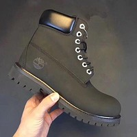 Timberland Rhubarb Boots Popular Men Women Shoes Waterproof Martin Boots Black I