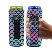 Mermaid Tail Handler Slim Can Cooler