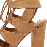 Pasatiempo Camel Suede Caged Lace-Up Heels