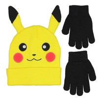 Pikachu with Ears Knit Hat and Gloves Set