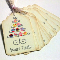 Sweet Treats Dessert Tags - Set of 6 - Cupcake Tags -  Food Gift Labels