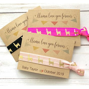 Llama Baby Shower Favors | Girl Boy Hair Tie Thank You Favors