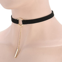 Leather Choker Necklace with  Pendant