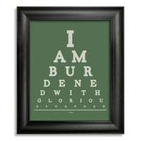 The Avengers Loki Eye Chart, I Am Burdened With Glorious Purpose, 8 x 10 Giclee Print BUY 2 GET 1 FREE