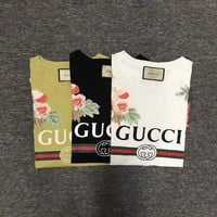 """Gucci""Hot letters Embroidery print T-shirt top"