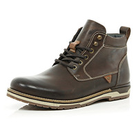 River Island MensDark brown waxy leather lace up boots