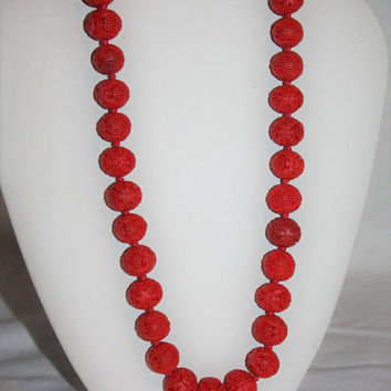 Vintage Carved Cinnabar Bead Necklace 1940s Jewelry, Carved Cinnabar Chinese