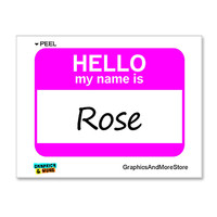 Rose Hello My Name Is Sticker