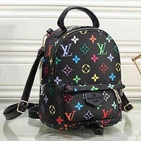 LV Louis Vuitton Classic Woman Men Leather Travel Bookbag Shoulder Bag Mini Backpack Black