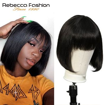 Mix Color Short Cut Straight Hair Wig Peruvian Remy Human Hair Wigs For Black Women Brown Ombre Red Blue Wig