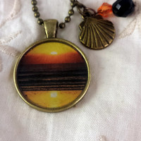 Cocoa Beach Sunset Photographic Pendant