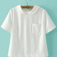 White Peter Pan Collar Zipper Back Short Sleeve Blouse