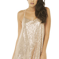 One Night Sequin Dress in Champagne