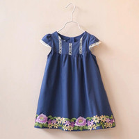 Navy Floral Embroidered Dress