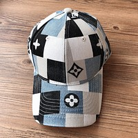 LV Louis Vuitton patchwork logo logo denim washed cap baseball cap
