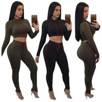 Crop Top And Pants Sets Two Piece Tracksuit Bodysuit Women's Sexy Casual Outfits 2017 Autumn Ensemble Femme Sweatsuit Knitted
