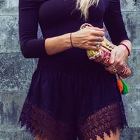 Off-Shoulder Long Sleeve Lace Romper