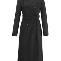 Black Lapel Double-Breasted Belted Waist Long Line Wool Coat