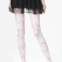 ROMWE   Flower Lace White Tights, The Latest Street Fashion