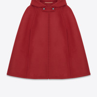 Saint Laurent Hooded Cape In Red Wool   ysl.com